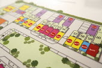 Plans showing the new Barratt Home development, Kingswood, Bristol. - Paul Box - 2010s,2014,Barratt Homes,bought,build,builder,builders,building,BUILDINGS,cities,city,Construction Industry,development,drawing,gousing,Home,house,house building,housebuilder,housebuilders,housebuildi