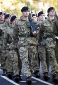 Remembrance Sunday. Serving forces Army personnel and local cadet groups parade to the Cenotaph, Bristol - Paul Box - WW2,1st,2010s,2014,ACE,armed,armed forces,arms,army,Assault Rifle,cities,city,culture,first,gun,guns,male,man,marching,men,military,one,parade,people,person,persons,remember,remembrance,rifle,rifles,S