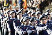 Remembrance Sunday. Members of the RAF Air Cadets local cadet groups parade to the Cenotaph, Bristol - Paul Box - 1st,2010s,2014,ACE,armed forces,child,CHILDHOOD,children,cities,city,culture,first,juvenile,juveniles,kid,kids,local,male,man,marching,men,military,one,parade,people,person,persons,pupil,pupils,RAF,re