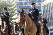 Remembrance Sunday. Police officers on horseback parade to the Cenotaph, Bristol - Paul Box - WW2,1st,2010s,2014,ACE,adult,adults,animal,animals,cities,city,CLJ,command,commanders,culture,domesticated ungulate,domesticated ungulates,equestrian,equine,first,force,horse,horseback,horses,male,man