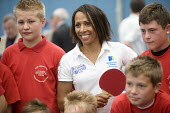 Dame Kelly Holmes visiting Bristol City Academy. - Paul Box - 2000s,2008,adolescence,adolescent,adolescents,athlete,athletes,BAME,BAMEs,Black,BME,bmes,boy,boys,celeb,celebrities,child,CHILDHOOD,children,cities,city,distance,diversity,edu,educate,educating,educat