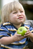 A young boy eating a sour apple. - Paul Box - 2000s,2007,apple,apples,boy,boys,child,CHILDHOOD,children,EARLY YEARS,eat,eating,food,FOODS,fruit,fruits,juvenile,juveniles,kid,kids,Leisure,LFL,LIFE,male,people,RECREATION,RECREATIONAL,taste,tasting,