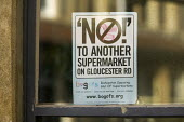 NO! to another supermarket poster in a window Bristol - Paul Box - 2000s,2008,activist,activists,advert adverts,advertisement,advertisement advertisements,advertisement advertising,advertisements,Advertising,advertising advertisement,against,CAMPAIGN,campaign campaig