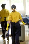 Cleaners working at Clevedon Community School, Clevedon. - Paul Box - 12-07-2006