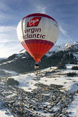 Virgin Atlantic hot air balloon at the Chateaux dOex Balloon Festival, Switzerland. - Paul Box - 29-01-2006
