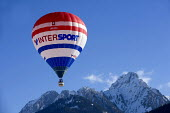 An Intersport hot air balloon at the Chateaux dOex Balloon Festival, Switzerland. - Paul Box - 22-01-2006