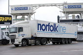 Norfolk Line lorry at Dover ferry port. - Paul Box - 2000s,2006,arrival,arrivals,arrive,arrived,arrives,arriving,boat,boats,capitalism,capitalist,cargo,container,containers,disembark,disembarkation,disembarking,dock,docks,dockside,EBF,Economic,Economy,e