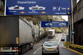 Departures, Dover ferry port. - Paul Box - 2000s,2006,AUTO,AUTOMOBILE,AUTOMOBILES,AUTOMOTIVE,boarding,boat,boats,capitalism,capitalist,car,cargo,cars,container,containers,dock,docks,dockside,EBF,Economic,Economy,export,exports,ferries,ferry,Fr