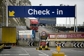Check in, Dover ferry port. - Paul Box - 2000s,2006,boarding,boat,boats,capitalism,capitalist,cargo,container,containers,dock,docks,dockside,EBF,Economic,Economy,export,exports,ferries,ferry,Freight,harbor,harbors,HARBOUR,harbours,HAULAGE,HA