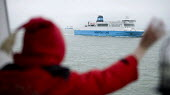 A child waves at a Norfolk Line ferry, Dover ferry port. - Paul Box - 20-01-2006