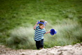 A young boy at Freshwater West beach in Pembrokeshire. - Paul Box - 20-08-2009