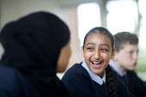 Pupils at Bristol City Academy. - Paul Box - 2000s,2009,adolescence,adolescent,adolescents,BAME,BAMEs,Black,BME,bmes,child,CHILDHOOD,children,cities,city,diversity,edu,educate,educating,education,educational,EMOTION,EMOTIONAL,EMOTIONS,ethnic,eth