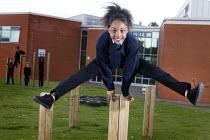 Pupil leapfrogging at Bristol City Academy. - Paul Box - 28-04-2009