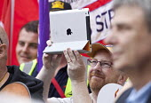 Filming with an Ipad. Unions demonstrate over pension cuts, Southampton. - Paul Box - 03-07-2011