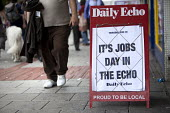 A newsagent advertisement for Jobs day in The Southern Daily Echo. The Local newspaper advertises job vacancies in and around Southampton, Hampshire. - Paul Box - 03-07-2011