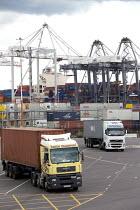 Container lorry leaving Southampton docks. Southampton. - Paul Box - 03-07-2011