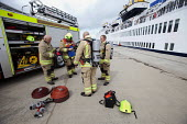 Argus 4-160 thermal imaging camera being used in a cruise ship for a mock fire incident attended by the fire brigade. - Paul Box - 05-08-2011