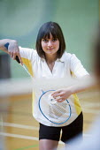 Serving. Pupils playing badminton at Clevedon School. - Paul Box - 23-06-2010