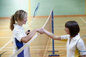 Pupils shaking hands after a game, playing badminton, Clevedon school - Paul Box - 23-06-2010