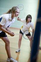 Pupils playing badminton at Clevedon School. - Paul Box - 23-06-2010