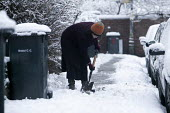 A woman clearing a footpath of snow outside her house. - Paul Box - 13-01-2010