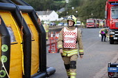 Command support officer, West Wales Fire and rescue service carry out a mock Chemical spill at Gelliswick Bay, Pembrokeshire - Paul Box - 06-10-2011