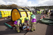 West Wales Fire and rescue service carry out a mock Chemical spill at Gelliswick Bay, Pembrokeshire - Paul Box - 2010s,2011,adult,adults,Decontamination,DIA,Emergency Services,equipment,exercise,exercises,Fire AND rescue,fire brigade,firefighter,firefighters,fireman,firemen,Hazmat,incident,incidents,Industrial A