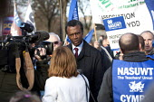 Patrick Roach Deputy Gen Sec NASUWT being interviewed. Strike by public sector workers over pensions. Cardiff, Wales. - Paul Box - 30-11-2011
