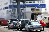 Cars queuing to board The Armorique ferry for the crossing to Roscoff at the Brittany ferries terminal, Plymouth - Paul Box - 24-08-2011