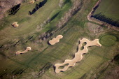 A golf course, with a tee and sandpits, Oxfordshire. - Paul Box - 2010s,2012,Aerial View,AFFLUENCE,AFFLUENT,Bourgeoisie,country,countryside,course,courses,elite,elitism,eni,environment,Environmental Issues,EQUALITY,golf,high,high income,income,INEQUALITY,land,Leisur