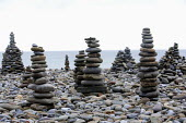 Pebble sculptures on Amroth Beach, Pembrokeshire, Wales. - Paul Box - 2000s,2009,ACE,art,arts,artwork,artworks,beach,BEACHES,coast,coastal,coastline,coastlines,coasts,country,countryside,culture,eni,environment,Environmental Issues,holiday,holiday maker,holiday makers,h