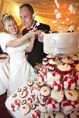 Cutting the cake. A wedding reception in Derby. - Paul Box - 2010,2010s,bow,bridal,bride,brides,cake,cakes,CELEBRATE,celebrating,celebration,celebrations,cupcake,cupcakes,cut,cutting,dress,dresses,EMOTION,EMOTIONAL,EMOTIONS,FEMALE,Getting Married,groom,grooms,h