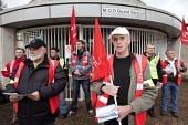 UNITE and PCS pensions picket at MOD headquarters for procurement, Abbey Wood, Bristol. - Paul Box - 2010s,2012,activist,activists,CAMPAIGN,campaigner,campaigners,CAMPAIGNING,CAMPAIGNS,DEMONSTRATING,DEMONSTRATION,DEMONSTRATIONS,DISPUTE,DISPUTES,fair pensions,headquarters,HQ,INDUSTRIAL DISPUTE,industr