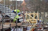 Builders erecting new housing near Taunton, Somerset. - Paul Box - 22-03-2012