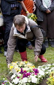 Maria Eagle MP places a Wreath are placed on the grave of Wreaths are placed on the grave of James Hammett one of the Tolpuddle Martyrs at The Tolpuddle Martyrs festival, Tolpuddle - Paul Box - 15-07-2012