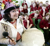 A storyteller tells a story to children at a school in Bath. - Paul Box - 01-03-2012