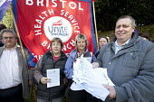 Colin Puckett, joint Union committe. Health trade union members in Bristol protest against the South West Pay, Terms and Conditions Consortium at North Bristol NHS Trust board meeting at Frenchay Hosp... - Paul Box - 27-09-2012