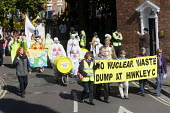 Stop new nuclear protesters march through Bridgwater to protest at plans for EDF Energy to build a new nuclear reactor at Hinkley point, Hinkley C power plant Somerset. And against plans to store nucl... - Paul Box - 06-10-2012