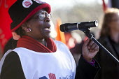 Maxine Hurley, Diversity and Equalities Assistant Coordinator of RCN speaking. Protest to save the NHS as the 20 trusts in the South West cartel are to reduce pay, terms and conditions. Bristol - Paul Box - 01-12-2012