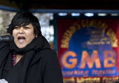 Rehana Azam - National Health Officer for GMB speaking. Protest to save the NHS as the 20 trusts in the South West cartel are to reduce pay, terms and conditions. Bristol - Paul Box - 01-12-2012