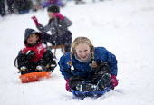 Children having fun in the snow, St Andrews Park , Bristol. - Paul Box - 18-01-2013