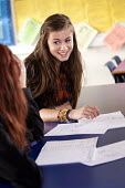 A sixth form student helps a younger pupil, maths lesson, Clevedon school, Clevedon - Paul Box - 13-09-2011