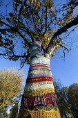 Yarn bombing: A knitted cosie or tree warmer, St Andrews Park Bristol. Intended to make the park feel safer, cared for and so reduce the fear of crime. - Paul Box - 2010s,2012,ACE,armed,arts,autumn,autumnal,beach,BEACHES,cities,city,COAST,coastal,coasts,color,colorful,colorfull,colors,colour,colourful,colours,communities,community,Council Services,Council Service