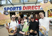Demonstration against zero hour contracts, sick of your boss campaign Sports Direct sports store, Bristol - Paul Box - 24-08-2013