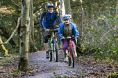 A father and son mountain biking, Leigh Woods, Bristol - Paul Box - 24-01-2015