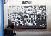 Tax avoidance Graffiti, In the Bearpit Stokes croft, Bristol, European Green Capital - Paul Box - 03-02-2015