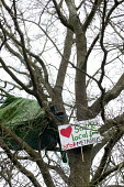 Protesters camp in trees to stop them being cut down and building on Stapleton allotments for the Metrobus new bus lane, Bristol. - Paul Box - 2010s,2015,activist,activists,against,anti,Broadleaf Tree,bus,bus service,buses,camp,CAMPAIGN,campaigner,campaigners,CAMPAIGNING,CAMPAIGNS,camps,climb,climbed,climbing,conservation,country,countryside
