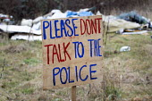 Please don't talk to the police sign. Protesters camp in trees to stop them being cut down and building on Stapleton allotments for the Metrobus new bus lane, Bristol. - Paul Box - 02-02-2015