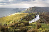 Mountain bikers on The Gap Road, the Brecon Beacons, Monmouthshire, Wales. - Paul Box - ,2010s,2014,bicycle,bicycles,BICYCLING,Bicyclist,Bicyclists,bike,bikes,coast,coastal,coasts,country,countryside,cycle,cycles,cycling,Cyclist,Cyclists,exercise,exercises,exercising,highway,hobbies,hobb