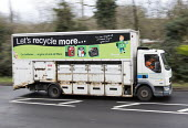 Household Waste Recycling refuse single pass collection vehicle Bristol. Materials are sorted at the kerbside into containers on the vehicle. - Paul Box - 17-12-2014
